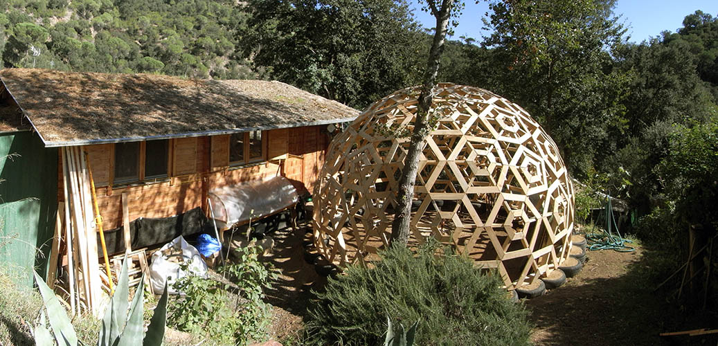 wooden geodesic house