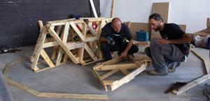 Montaggio geodetica legno
