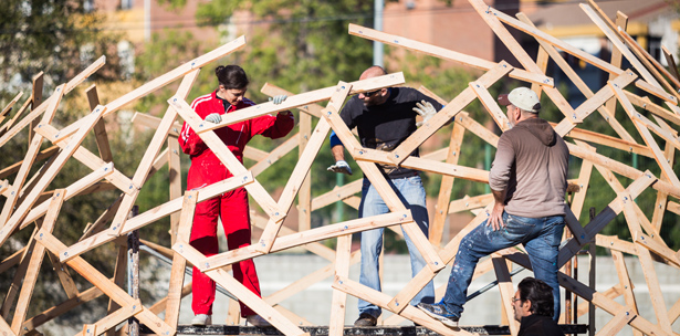 wooden geodesic dome, amazing geodesic, upcycling experimentation architecture